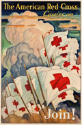 """Movie Posters:War, The American Red Cross Carries On by N.C. Wyeth (U.S. Government,1933). Window Card (13.5"""" X 20.5"""") """"Join!"""". ..."""