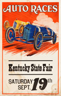 "Movie Posters:Miscellaneous, Kentucky State Fair Auto Races (c.1930). Window Cards (2) (14"" X22"").. ... (Total: 2 Items)"