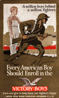 "Movie Posters:War, World War I Propaganda (Rogers & Company, 1917). Poster (12.5""X 21.5"") ""Every American Boy should Enroll in the Victory Boy..."