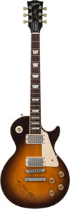 Musical Instruments:Electric Guitars, Peter Frampton, Buck Dharma and Eric Bloom Signed 1990 Gibson Les Paul Standard Sunburst Solid Body Electric Guitar, Serial # ...