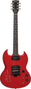 Musical Instruments:Electric Guitars, Robbie Krieger Signed 1987 Gibson SG Red Solid Body ElectricGuitar, Serial # 82227507....