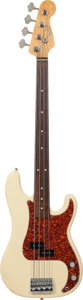 Musical Instruments:Bass Guitars, 1983 Fender Precision Bass Olympic White Fretless Electric Bass Guitar, Serial # V015948....