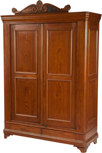Late 19th Century Texas Pine Wardrobe Marked on the Crown C. F. A