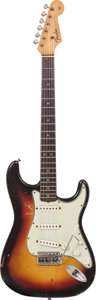 Musical Instruments:Electric Guitars, 1964 Fender Stratocaster Sunburst Solid Body Electric Guitar,Serial # L27735....