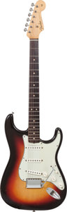 Musical Instruments:Electric Guitars, 1963 Fender Stratocaster Sunburst Solid Body Electric Guitar, Serial # L14444....