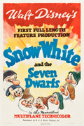 "Movie Posters:Animation, Snow White and the Seven Dwarfs (RKO, 1937). One Sheet (27"" X 41"")Style A.. ..."