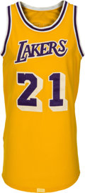 Basketball Collectibles:Uniforms, Circa 1984 Michael Cooper Game Worn Los Angeles Lakers Jersey....