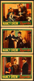 "Movie Posters:Mystery, Nancy Drew, Reporter (First National, 1939). Linen Finish LobbyCards (3) (11"" X 14"").. ... (Total: 3 Items)"