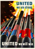"Movie Posters:War, World War II Propaganda (U.S. Government Printing Office, 1943). OWI Poster #64 (28.5"" X 40"") ""United We Are Strong."". ..."