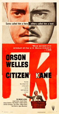 "Citizen Kane (RKO, R-1956). Three Sheet (41"" X 79.5"")"