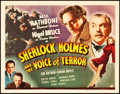 "Movie Posters:Crime, Sherlock Holmes and the Voice of Terror (Universal, 1942). TitleLobby Card (11"" X 14"").. ..."