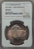 German States:Bavaria, German States: Bavaria. Otto 5 Mark 1911-D MS64+ NGC,...