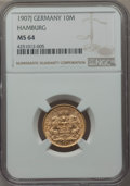 German States:Hamburg, German States: Hamburg. Free City gold 10 Mark 1907-J MS64 NGC,...