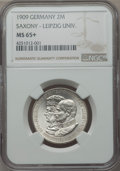 German States:Saxony, German States: Saxony. Friedrich August III 2 Mark 1909 MS65+ NGC, ...