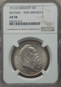 German States:Bavaria, German States: Bavaria. Otto 3 Mark 1911-D AU58 NGC,...