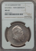 German States:Bavaria, German States: Bavaria. Otto 5 Mark 1911-D MS62 NGC,...