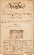 Miscellaneous, Late 18th Century Ledger Containing Navigation Exercises...