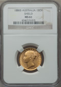 "Australia, Australia: Victoria gold ""Shield"" Sovereign 1886-S MS61 NGC,..."