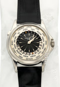 Timepieces:Wristwatch, Patek Philippe Ref. 5130P-001 Very Fine Single Sealed PlatinumWorld Time Wristwatch. ...