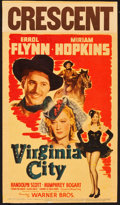 "Movie Posters:Western, Virginia City (Warner Brothers, 1940). Linen Finish Midget WindowCard (8"" X 14"") & Lobby Cards (2) (11"" X 14"").. ... (Total: 3Items)"