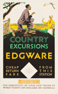"Movie Posters:Miscellaneous, London Underground (c.1930). Travel Poster (25.5"" X 40"") ""CountryExcursions to Edgware."". ..."