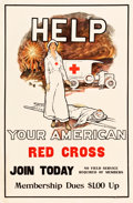 "Movie Posters:War, World War I Propaganda (Schilling Press, 1917). Red Cross Poster(30.25"" X 46"") ""Help Your American Red Cross."". ..."