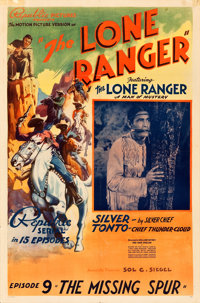 "The Lone Ranger (Republic, 1938). One Sheet (27"" X 41"") Chapter 9 -- The Missing Spur."""
