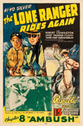 "Movie Posters:Serial, The Lone Ranger Rides Again (Republic, 1939). One Sheet (27"" X41""). Chapter 8 -- ""Ambush."". ..."