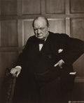 Photographs:Gelatin Silver, Yousuf Karsh (Canadian, 1908-2002). Winston Churchill, 1941.Gelatin silver, printed later. 8-3/8 x 6-3/4 inches (21.3 x...