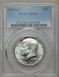 Kennedy Half Dollars, 1970-D 50C MS66 PCGS. PCGS Population (503/14). NGC Census:(135/7). Mintage: 2,150,000. Numismedia Wsl. Price for problem ...