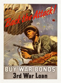 "Movie Posters:War, World War II Propaganda (U.S. Government Printing Office, 1943).Full-Bleed Poster (20"" X 28""). ""Back the Attack! Buy War Bo..."