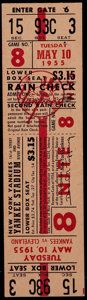 Baseball Collectibles:Tickets, 1955 New York Yankees Vs. Cleveland Tigers Full Ticket....