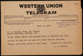 Baseball Collectibles:Others, 1915 Telegram Sent by Yankees Owner T.L. Huston to Ban Johnson....