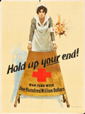 "Movie Posters:War, World War I Propaganda (U.S. Printing Office, 1917). Red CrossPoster (20.5"" X 27.5"") ""Hold Up Your End!"". ..."