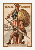 "Movie Posters:War, World War I Propaganda (U.S. Government Printing Office, 1917).Third Liberty Loan Full-Bleed Poster (19"" X 29"") ""Weapons fo..."
