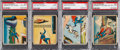 Non-Sport Cards:Lots, 1940 Superman PSA Graded Quartet (4) - With Three Scarce HighNumbers. ...