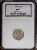 Proof Indian Cents: , 1863 1C PR64 NGC. Steel-blue and coppery peach coloration is attractively distributed over the two sides of this crisply st...
