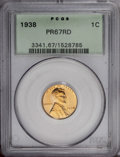1938 1C PR67 Red PCGS. This needle-sharp Superb Gem is housed in a green label holder and exhibits radiant pumpkin-gold...