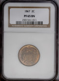 Proof Two Cent Pieces: , 1867 2C PR65 Brown NGC. Deeply variegated copper-golden, navy-blue, purple, and apricot colors bathe this exquisitely struc...