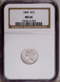Three Cent Nickels: , 1868 3CN MS66 NGC. Lustrous, bright, and satiny, with a pleasingstrike and noticeable die clash marks on each side. Wispy ...