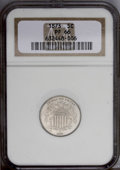 Proof Shield Nickels: , 1873 5C Closed 3 PR66 NGC. Luminous Proof surfaces are covered by a thin veneer of ice-blue and light beige toning, and dis...