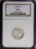 Proof Buffalo Nickels: , 1937 5C PR64 NGC. Razor-sharp striking details are seen on thehighly reflective lilac-gray surfaces. Contact-free and devo...