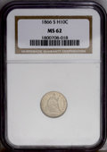 Seated Half Dimes: , 1866-S H10C MS62 NGC. A satiny pearl-gray and tan-gold Seated halfdime with a typical strike and a relatively low mintage....