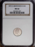 Seated Half Dimes: , 1872-S H10C Mintmark Above Bow MS66 NGC. The mintage of 1872-S wasdivided between two significant varieties, one of which ...