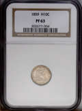 Proof Seated Half Dimes: , 1859 H10C PR63 NGC. Both 1 and 9 are repunched at the base. A smallplanchet flaw captures and slightly bends the lower edg...