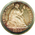 Proof Seated Half Dimes: , 1868 H10C PR66 NGC. Beautifully toned with royal blue and magenta-gold near the rims, lighter silver-gray to the centers. T...