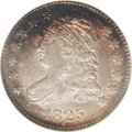 Bust Dimes: , 1825 10C MS63 NGC. JR-4, R.2. Easily attributed by star 7 pointingto the top corner of the headband. Areas of dark-green, ...