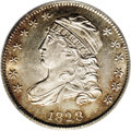 Bust Dimes: , 1828 10C Small Date MS64 PCGS. JR-1, R.2. The Small Date variety isimmediately recognized by the squared base to the digit...