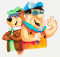 Animation Art:Production Drawing, Rapping Yogi Bear and Fred Flintstone Illustration Original Art(Hanna-Barbera, c. 1990s)....