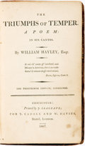 Books:Literature Pre-1900, William Hayley. The Triumphs of Temper. A Poem in Six Cantos. London: T. Cadell and W. Davies, 1807....